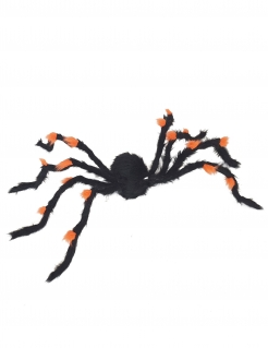 Riesige Deko-Spinne Halloween-Figur schwarz-orange 108cm