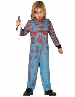 Horrorpuppen-Kinderkostüm blau-rot