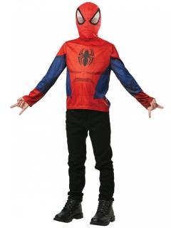 Spiderman™-Shirt mit Maske für Kinder Halloweenkostüm rot-blau