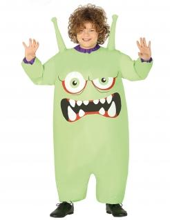 Aufblasbares Alienmonster-Kostüm für Kinder Happy Halloween bunt