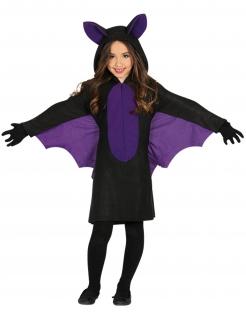 Fledermaus-Mädchenkostüm schwarz-violett