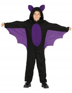 Fledermaus-Kinderkostüm schwarz-violett