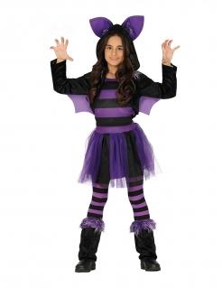 Fledermaus-Kostüm für Mädchen schwarz-violett