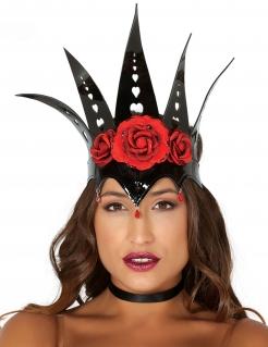 Finstere Königinnen-Krone für Damen schwarz-rot