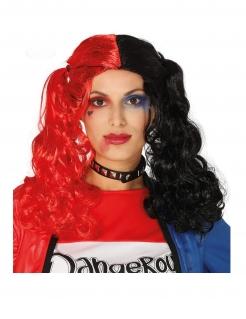 Harlekin-Perücke Zopf-Perücke für Damen Halloween-Accessoire schwarz-rot