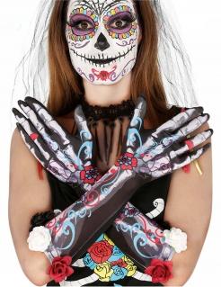 Dia de los Muertos Handschuhe für Damen bunt