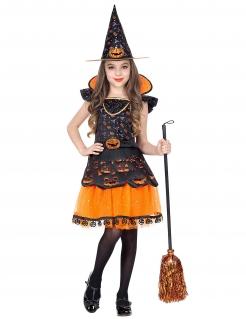 Kürbis-Hexe Mädchenkostüm Halloweenkostüm orange-schwarz