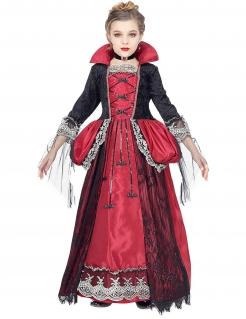 Hochwertiges Vampir-Kostüm für Mädchen Halloween schwarz-rot