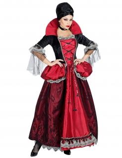 Barocke Vampir-Lady Damen-Kostüm schwarz-rot-grau