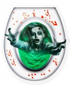 Zombie-WC-Aufkleber Partydeko Halloween grün-weiss-rot