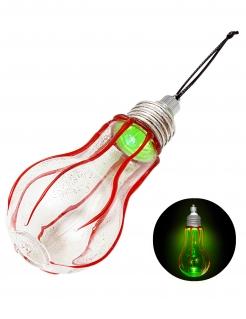 Blutige Glühbirne mit Leuchteffekt Partydeko Halloween rot-grün 11 cm
