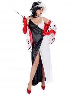 Dämonische Hundefängerin Damenkostüm Halloweenkostüm schwarz-weiss