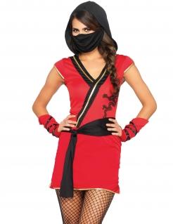 Mysteriöses Ninja-Damenkostüm Halloween-Kostüm rot-schwarz