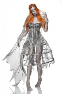 Zombie-Hochzeitskostüm für Damen grau