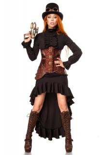 Viktorianisches Steampunk-Damenkostüm schwarz-braun