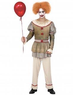 Psycho-Clown Herrenkostüm gold-grau-rot