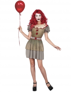 Horrorclown-Kostüm für Damen gold-grau-rot
