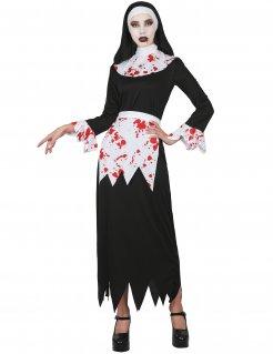 Horror-Nonne Damenkostüm schwarz-weiss-rot