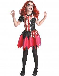Psychoclown-Kinderkostüm für Mädchen schwarz-weiss-rot