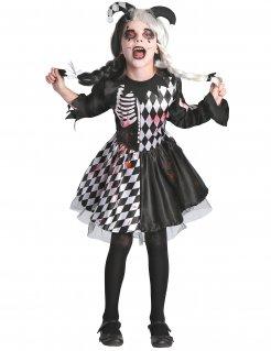 Blutiges Horrorclown-Kostüm für Mädchen schwarz-weiss