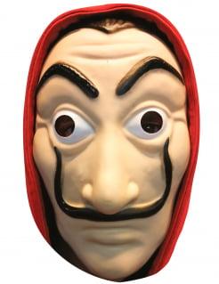 Bankräuber-Maske Pappkarton rot-beige