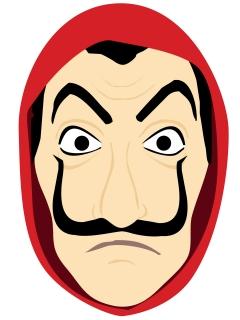 Bankräuber-Maske Pappkarton Comic-Stil rot-beige