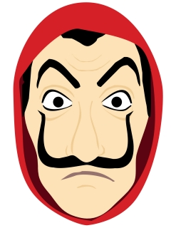 Bankräuber-Maske Pappkarton Comic-Stil rot-hautfarben