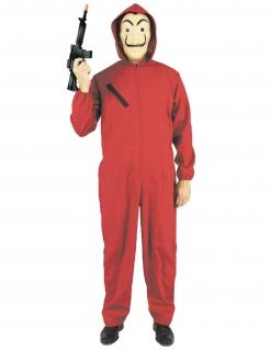 Bankräuber Erwachsenen-Kostüm mit Kapuze rot-schwarz