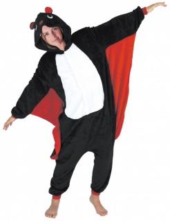 Fledermauskostüm für Erwachsene schwarz-weiss-rot