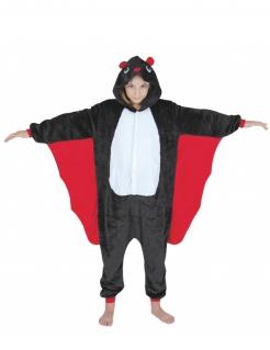 Fledermauskostüm für Kinder schwarz-weiss-rot