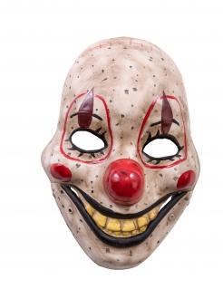 Horrorclown-Maske mit beweglichem Kiefer Halloween-Maske beige-rot-schwarz
