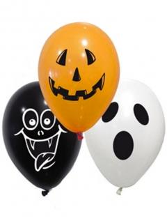 Happy Halloween Luftballons 10 Stück orange-schwarz-weiss 28 cm