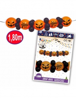 Luftballon-Girlande Kürbis Halloween-Deko orange-schwarz 1,8m
