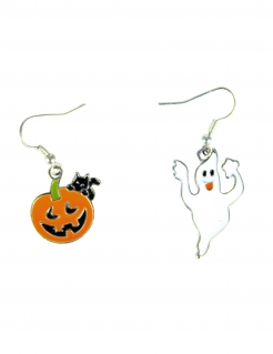 Halloween-Ohrringe Geist und Kürbis 2 Paar Schmuck Halloween orange-weiss