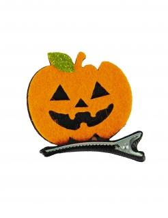 Kürbis-Haarspange Halloween-Accessoire schwarz-orange