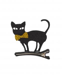 Schwarze Katze Haarspange Halloween-Accessoire schwarz-goldfarben 5 x 5 cm