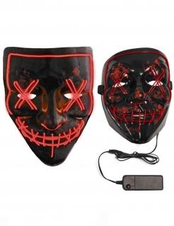 LED-Maske Purge für Erwachsene schwarz-rot