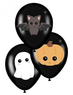 Süße Halloween-Luftballons 6 Stück Halloween-Deko für Kinder schwarz 28 cm