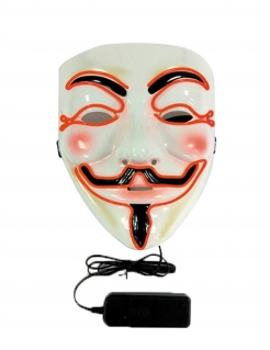 LED-Maske Anonymous weiss-schwarz-orange