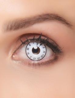 Fantasy-Kontaktlinse alte Uhr Make-up weiss-rot