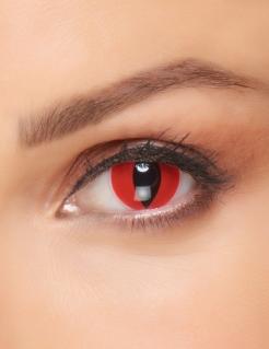 Dämonische Katzen-Kontaktlinsen für Erwachsene schwarz-rot