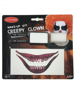 Make-up-Set Horror-Clown-Make-up weiss-schwarz-rot