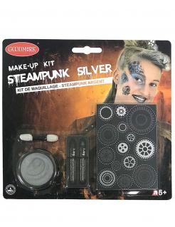 Steampunk-Schminkset für Halloween silberfarben-schwarz