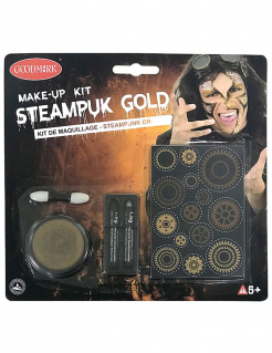 Steampunk Make-up Set 5-teilig goldfarben-schwarz-grau