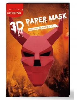 3D Teufel-Papiermaske für Erwachsene rot-schwarz