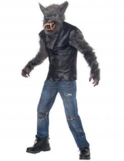 Schauriges Wolf-Kostüm für Kinder grau-schwarz