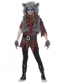 Werwolf-Kostüm für Mädchen grau-rot-schwarz