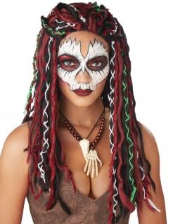 Wilde Voodoo-Priesterin Damen-Perücke Halloween-Accessoire bunt