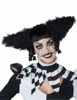 Verrückte Horrorclown-Perücke für Damen schwarz
