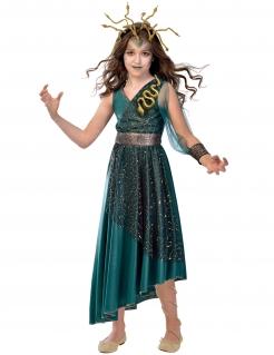 Medusa-Mädchenkostüm grün-goldfarben